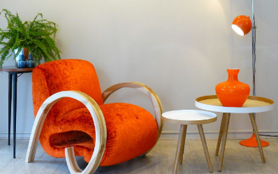 fauteuil design velours orange