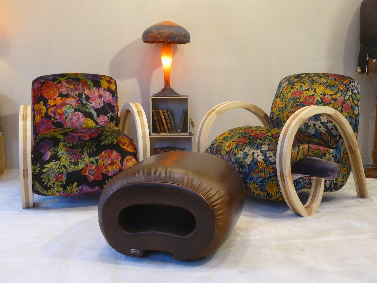 footstool design cuir